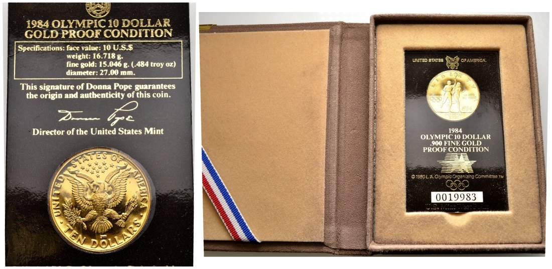 PEUS 1919 USA 15,05 Feingold. Los Angeles Olympiade incl. Etui 10 Dollars GOLD 1984 Proof (eingeschweist)