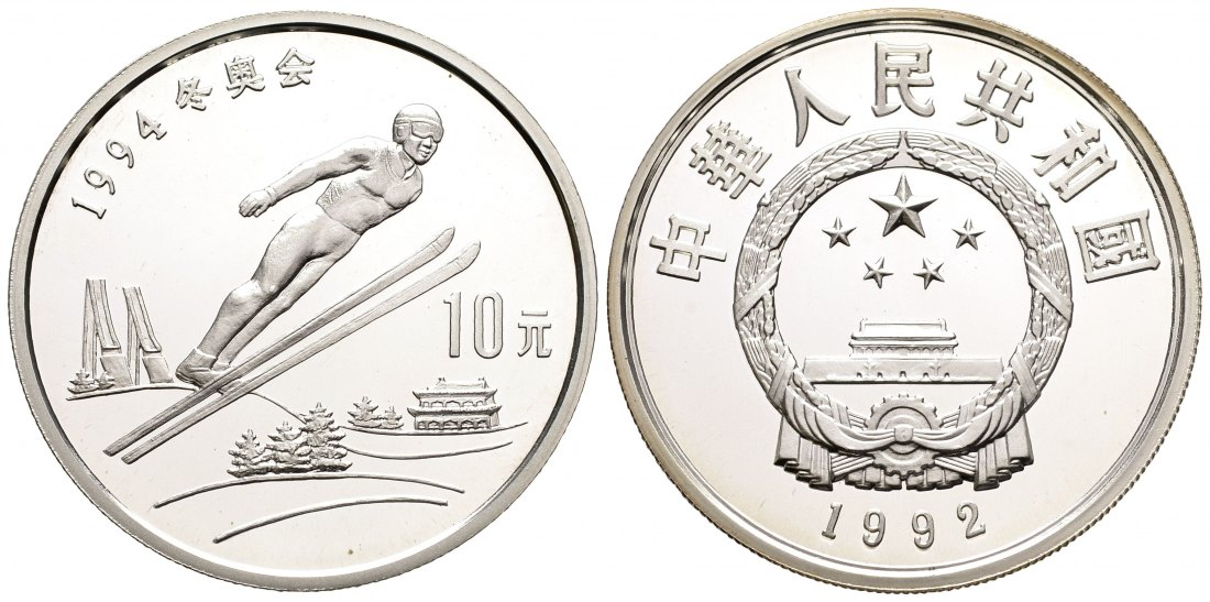 PEUS 1926 China 24,26 g Silber. Olympiade - Skispringer 10 Yuan SILBER 1992 Proof (in Kapsel)