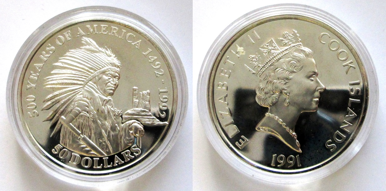 Indianer Häuptling Sitting Bull - Cook Islands: 50 Dollars 1991 KM # 94 - 31,1 g Ag 925/1000 - rar!