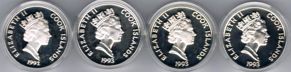 Cook Islands: 4 x 50 Dollars 500 Years of America Ponce San Martin Pinzon Penn 124 g Silber 925/1000