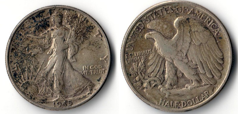 USA    Half Dollar  1945  Walking Liberty    FM-Frankfurt   Feinsilber: 11,25g