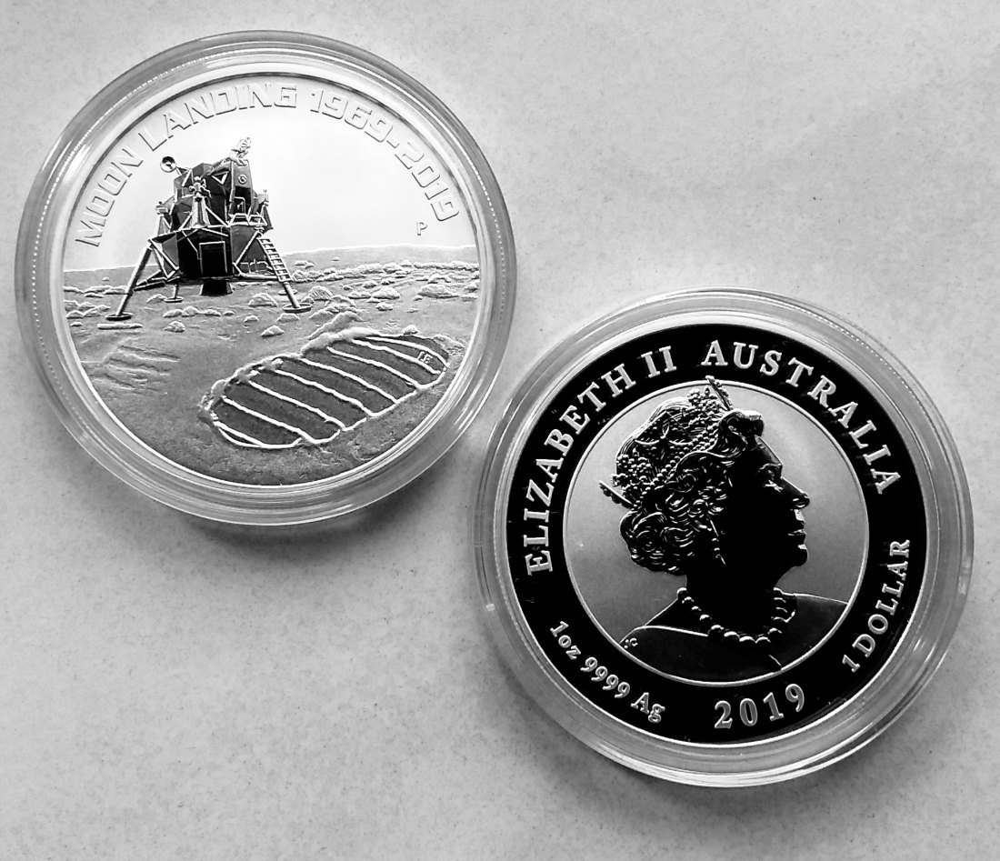 1 Dollar Australien 1. Man on Moon Apollo 50 J. MONDLANDUNG 2019 1 Oz. 999 Silber Kapsel