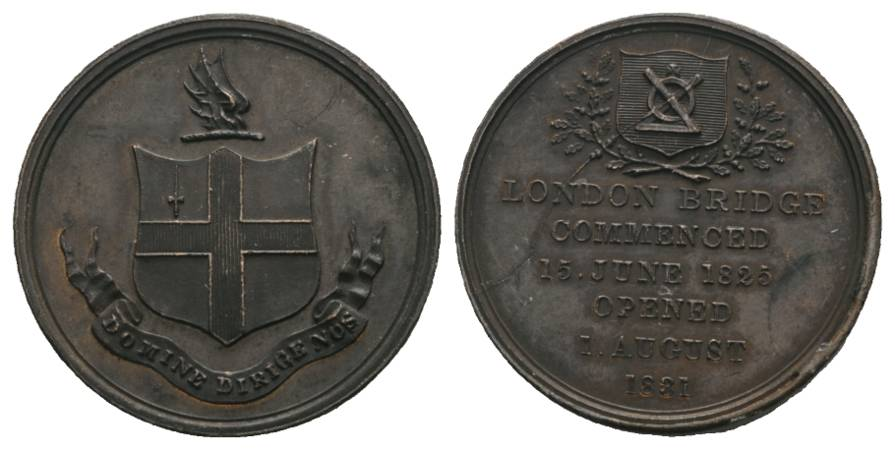 London Bridge Bronzemedaille 1825; 13,4 g, Ø 27 mm