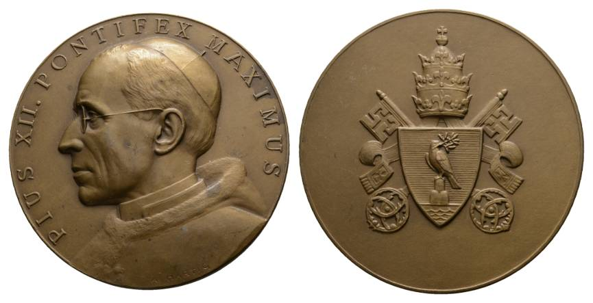 Italien, Pius XII, Bronzemedaille o.J.; 150,07 g, Ø 70 mm