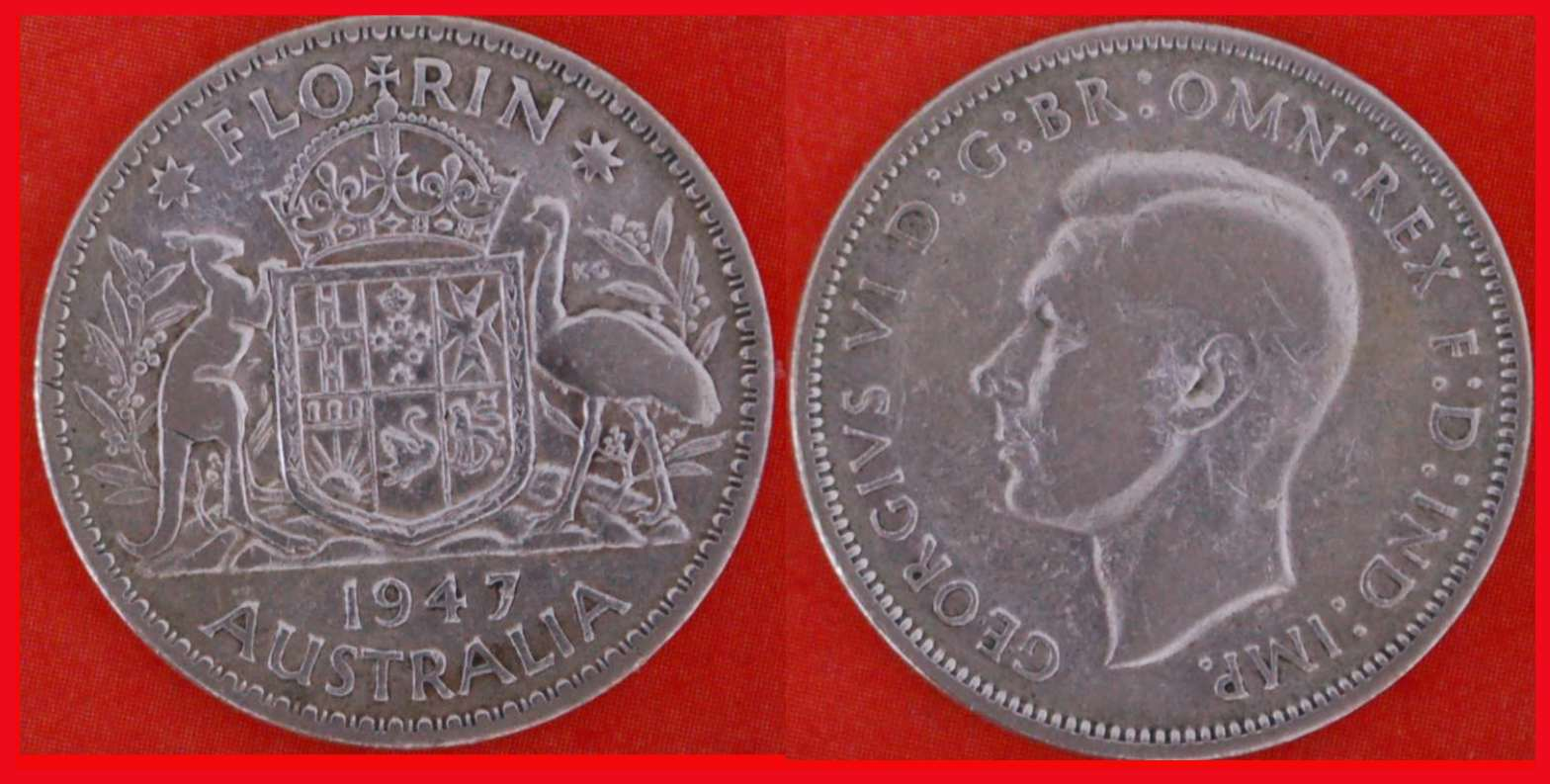 + SILVER * AUSTRALIA FLORIN 1947! George VI (1937-1952) LOW START ★ NO RESERVE!