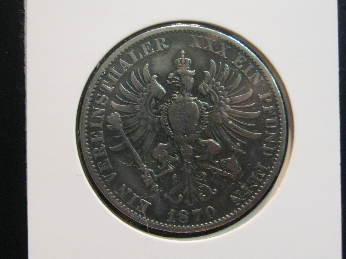 GERMANY 1 THALER 1870 PRUSSIA.GRADE-PLEASE SEE PHOTOS.