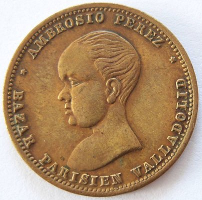 Spanien alte Medaille Jeton Alfonso XIII. Messing/Bronze !! SEHR INTERESSANT !!