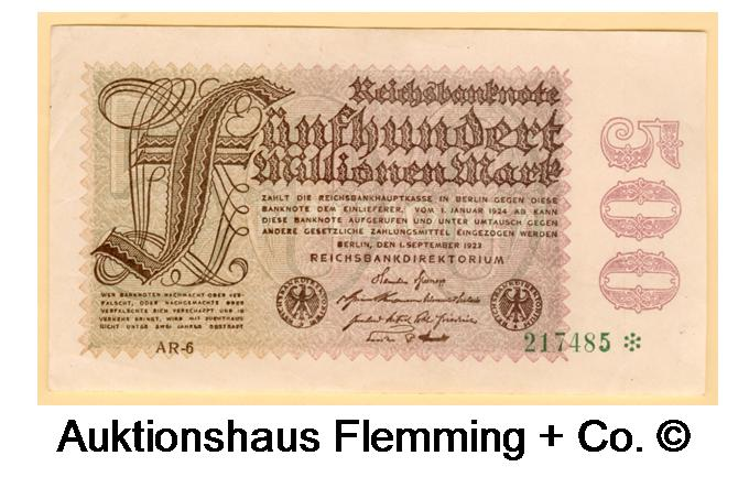Inflation 500 Millionen Mark 1. Sept. 1923 Rosenberg Nr.109d/Pick 110d II