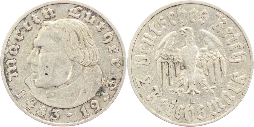 III. Reich, 2 Mark 1933 E, Luther