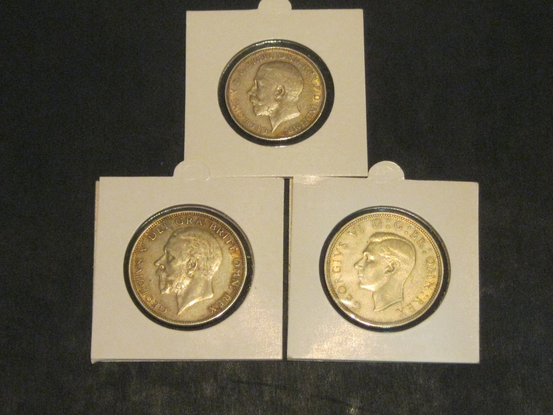 GREAT BRITAIN 3X 1 FLORIN 1912-1/2 CROWN 1931-1937.GRADE-PLEASE SEE PHOTOS.