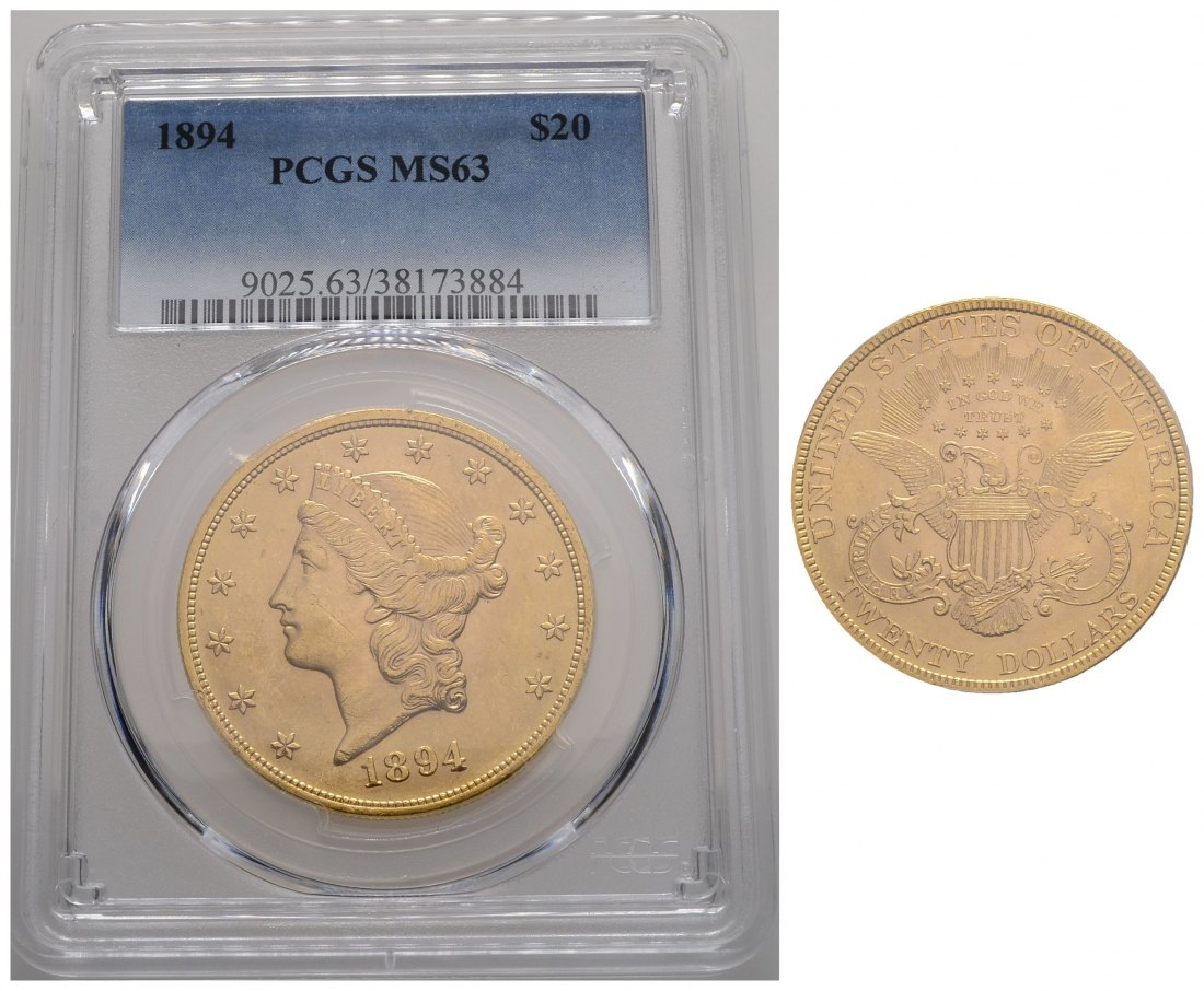 PEUS 3864 USA 30,1 g Feingold. Coronet Head in US-Plastic Holder 20 Dollars GOLD 1894 PCGS-Bewertung MS63/ Kratzer, fast vz