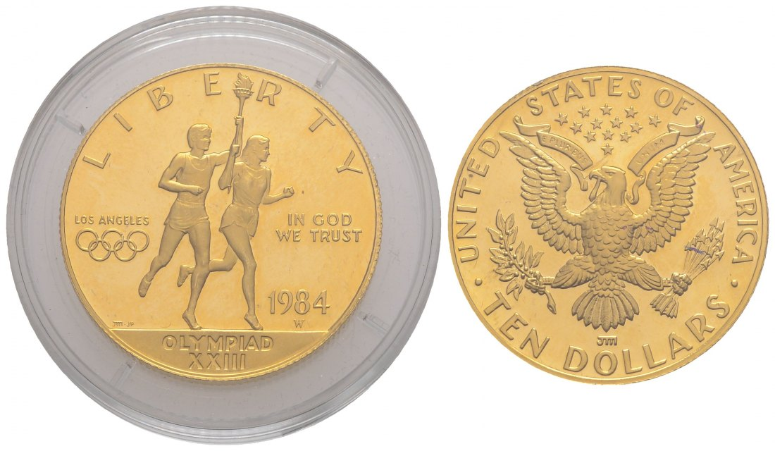 PEUS 4009 USA 15,05 Feingold. Los Angeles Olympiade 10 Dollars GOLD 1984 W Proof (Kapsel)