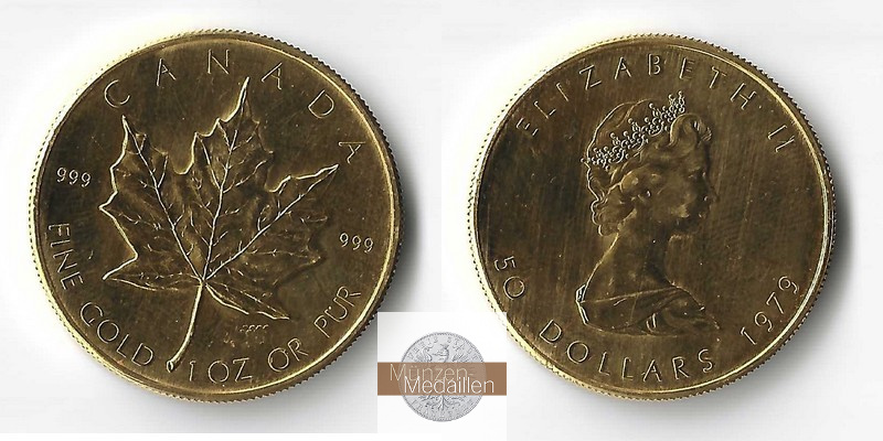 Kanada  50 Dollar MM-Frankfurt Feingold: 31,1g Maple Leaf 1979