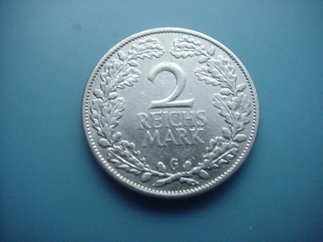 Weimarer Republik 2 Mark 1925 G-Silber