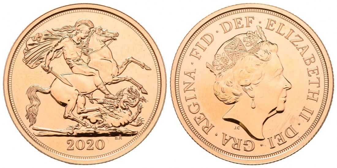 PEUS 4501 Grossbritannien 14,64 g Feingold. Elizabeth II. (1952 - heute) Double Sovereign (2 Pounds) GOLD 2020 Proof (berührt)
