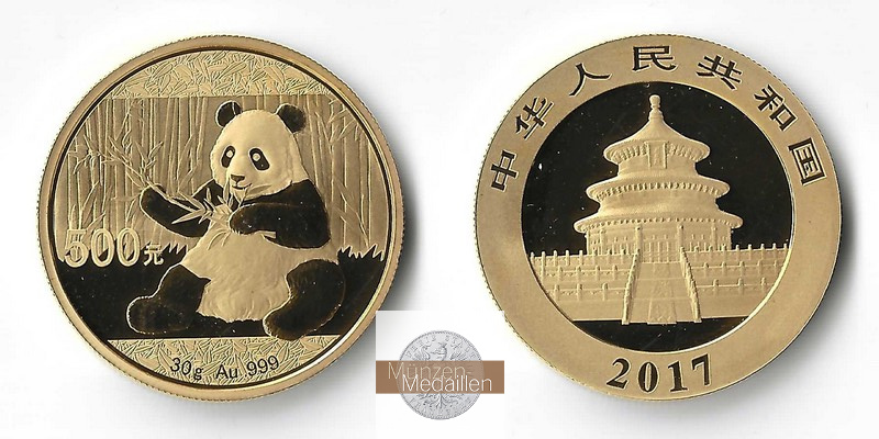 China  500 Yuan MM-Frankfurt Feingold: 30g Panda 2017