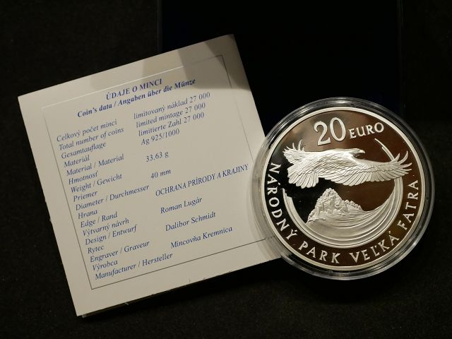 20€ SILBER 1oz Slowakei 2009 Proof Slovensko Nationalpark VELKA FATRA