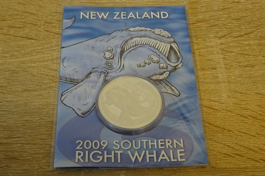 Neuseeland 1oz SILBER Southern RIGHT WHALE 1$ im Blister 2009 New Zealand ovp in Folie