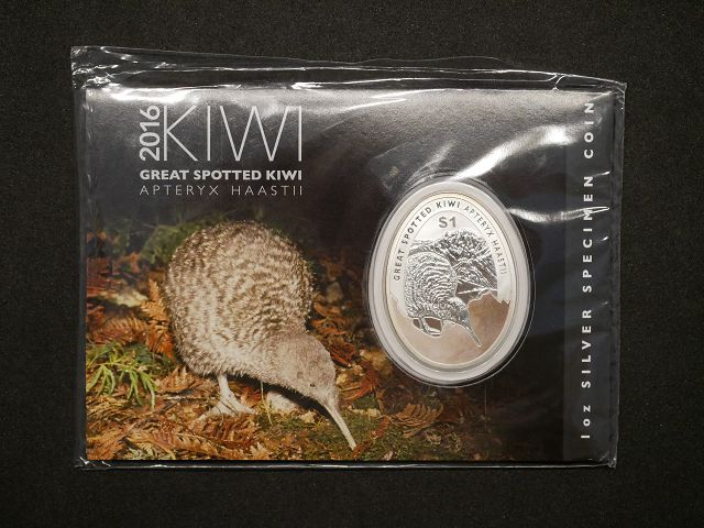Neuseeland 1oz SILBER Great Spotted KIWI oval Stempelglanz im Blister 2016 ovp New Zealand