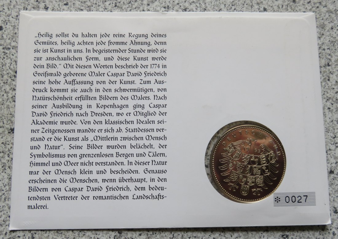 Numisbrief Caspar David Friedrich, 5. September 1774 - 7. Mai 1840