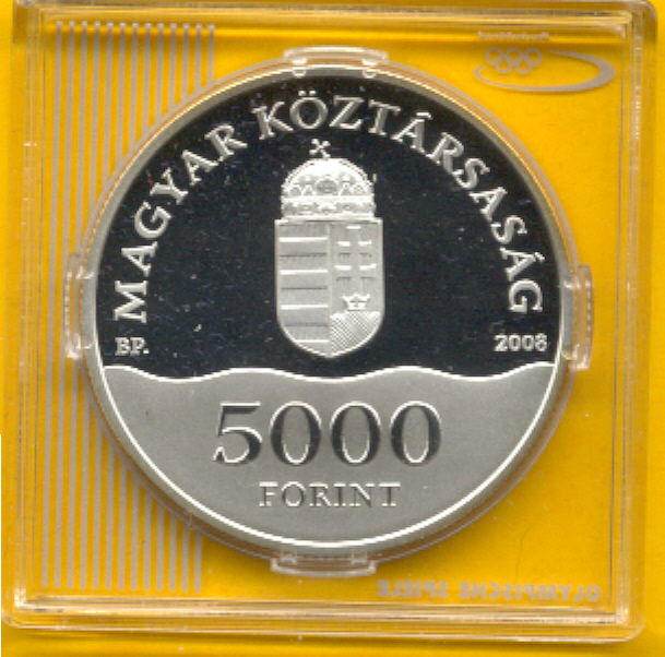 THOMAS  Ungarn 5000 Forint Olympia 2008, Wasserball, Silber, PP