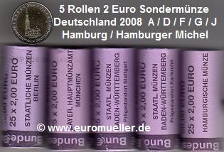 Muenzauktioncom 2076364 Alle 5 Rollen2 Euro Sondermünzen 2008