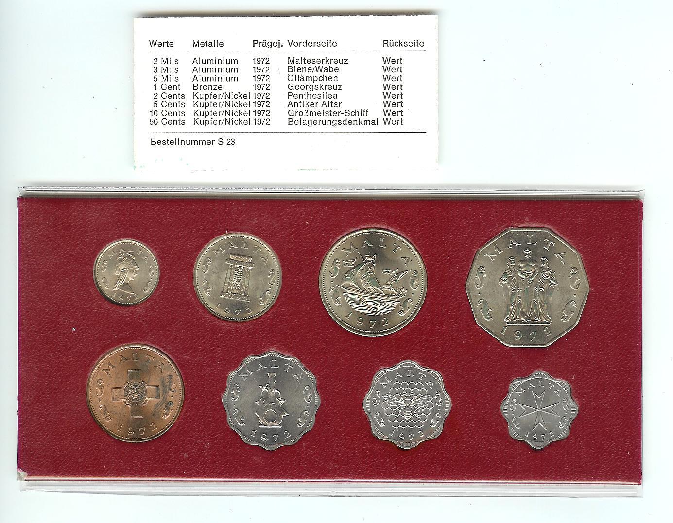 Muenzauktioncom 2478051 Malta Kursmünzensatz Kms 1972