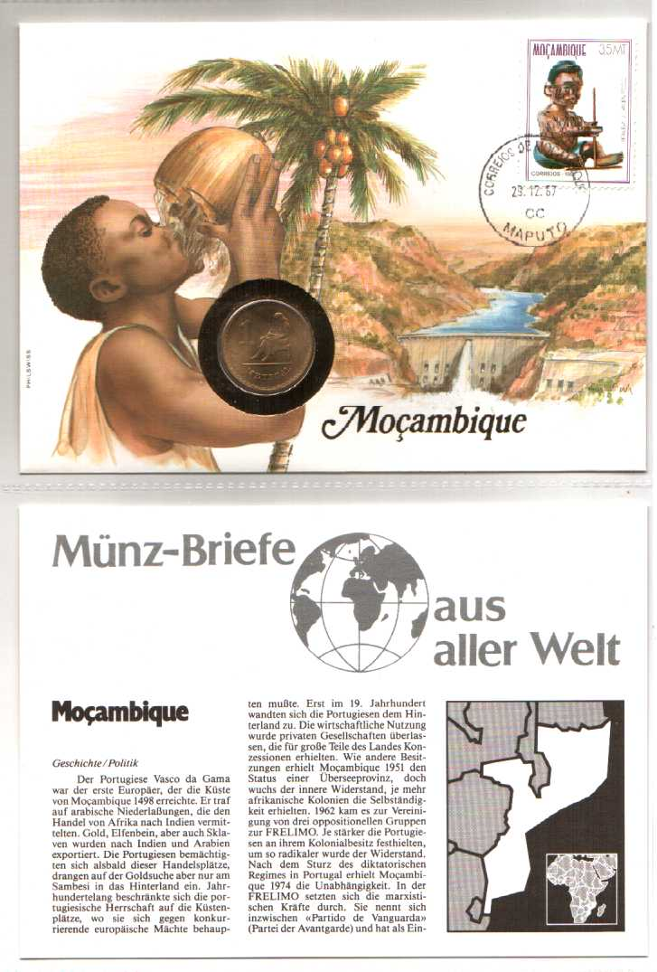 Numis - Phila - Brief Mocambique Münze 1 Metical 1982 und Marke Homem 1987